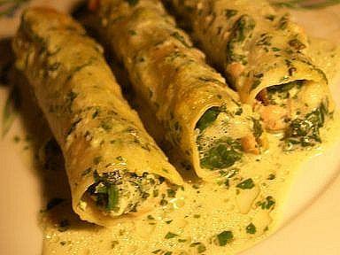 Recette de Cannelloni de Saumon aux Epinards et Crème Basilic