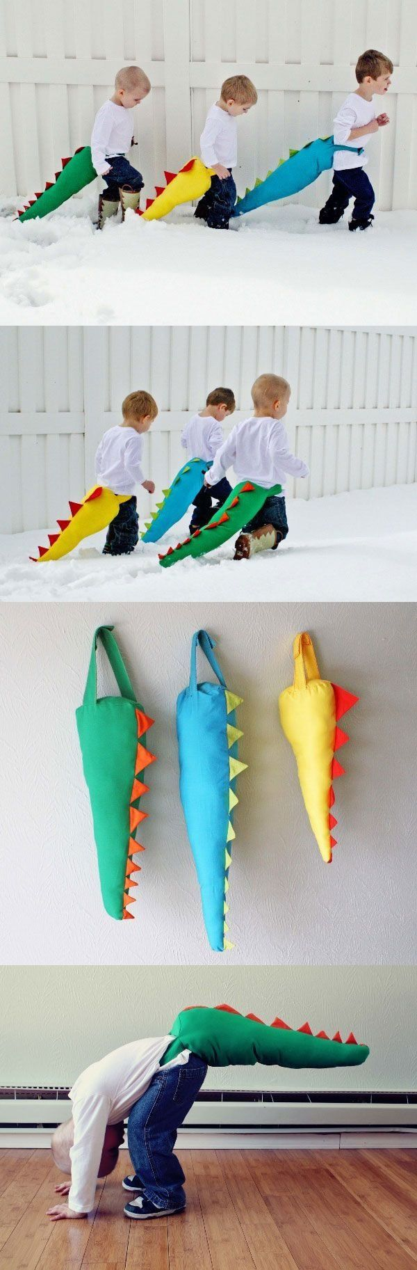 Now your little one's can be real dinosaurs with these DIY dinosaur tails! Perfect for when their friends are over or even a dinosaur themed birthday party!