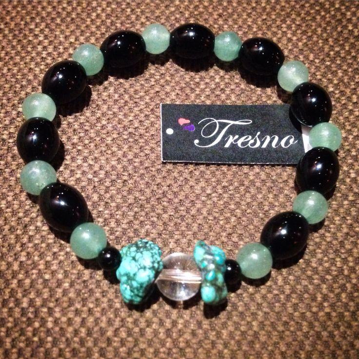 Black Onyx, Green Aventurine, Turquoise & Clear Quartz