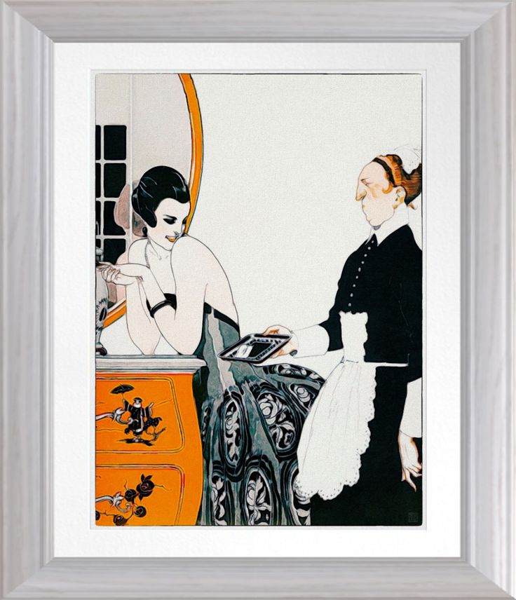 'The Calling Card' - 1922 Vintage Art On Canvas. Vintage 1920's magazine illustration reproduced as a watercolor. Printed on Premium Canvas. One for the home https://www.zazzle.com/the_calling_card_1922_vintage_art_on_canvas_poster-228308639348995821 #1920s #ArtDeco #art #print #vintage
