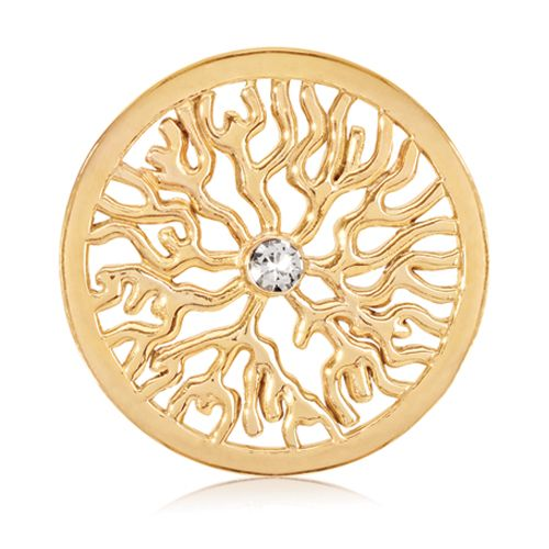 Nikki Lissoni Gold- tone 33mm Clear Swarovski® Elements Coin