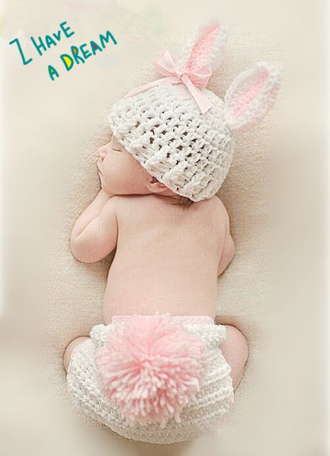 Free shipping Hand knitting clothes / baby photography clothing neonatal modeling / cartoon white rabbit sweaters
