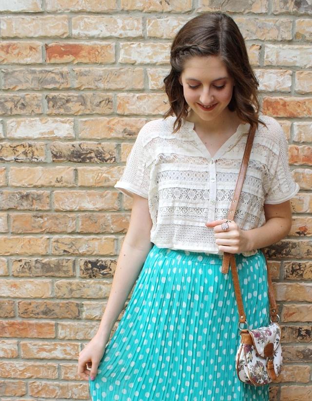 polka dot skirt and crocheted top