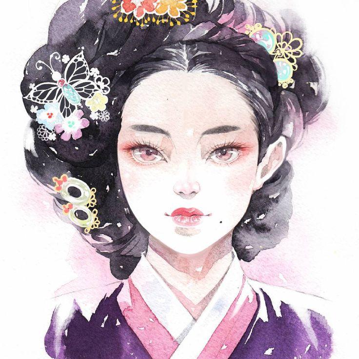 """#watercolor #illust #일러스트 #수채화 #한복일러스트 캐릭터 디자인 중 마음에 든 기생여인~"""