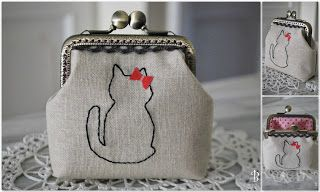 Frame purse with cat embroidery