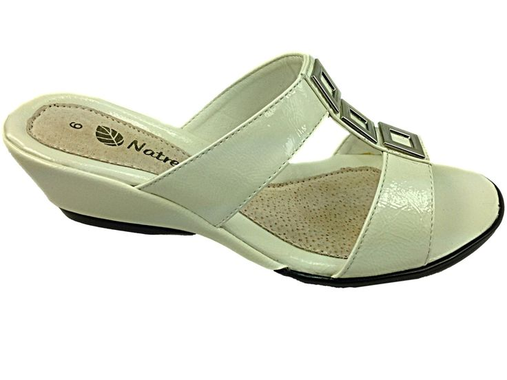 Ladies Natrelle White Wedge T Bar Slip On Mule Casual Smart Summer Sandal Shoe | eBay