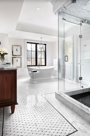 Traditional Master Bathroom With Carrara White 2 Inch Octagon Mosaic Tile W Black Dots Polished