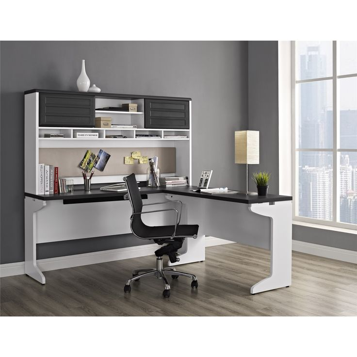 Brighten up your home or office with the Pursuit L desk and hutch set. With a large work surface and storage compartments, you will easily be able to keep all of your documents and office accessories organized.