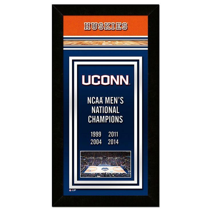 """UConn Huskies 2014 Ncaa Men's Basketball Champions 14.5"""" x 27.5"""" Framed Banner, Multicolor"""