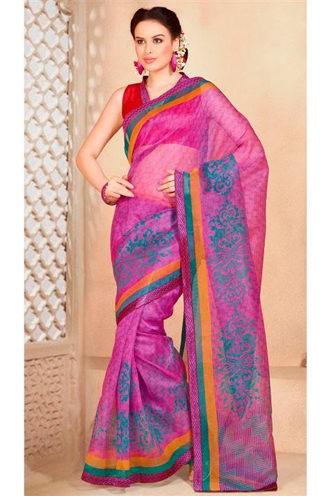 Elegant Printed Cotton Saree with Blouse
