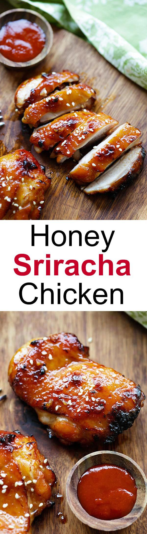 Honey Sriracha Chicken – Make it on a skillet, bake or grill for dinner tonight.