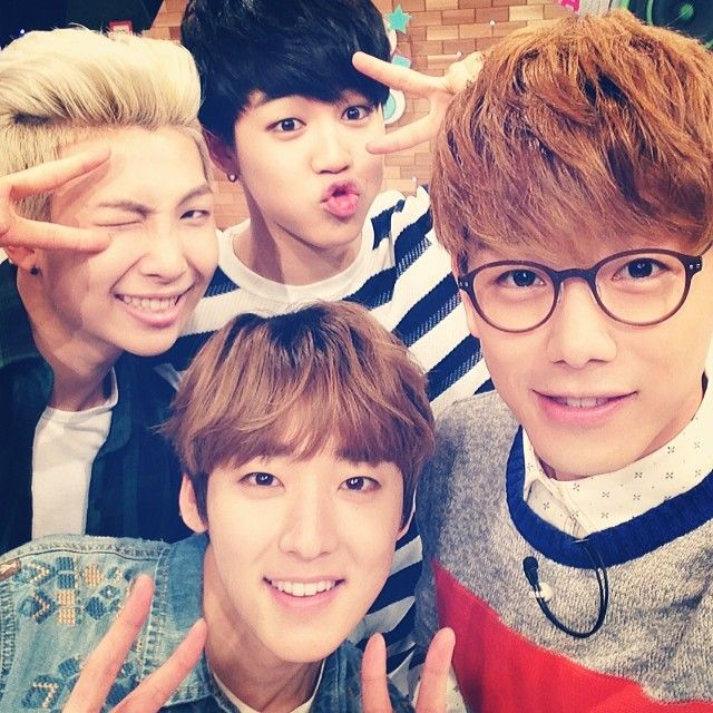 Kevin, Eric Nam, Nam Joon, & Jimin. ^_^ priceless photo filled with beautiful people.