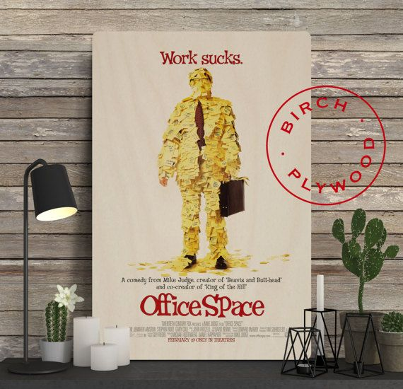 OFFICE SPACE Movie Poster on Wood, Ron Livingston, Jennifer Aniston, David Herman, Mike Judge, Unique Gift, Birthday Gift, Print on Wood