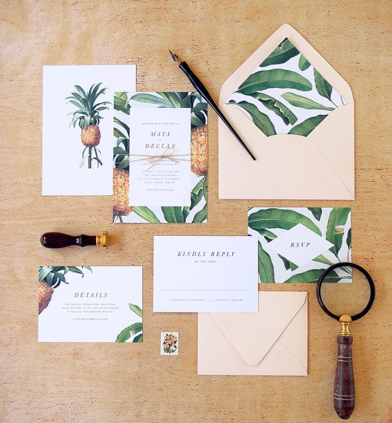 Pineapple and banana leaf botanicals together with mint and blush accent colors…