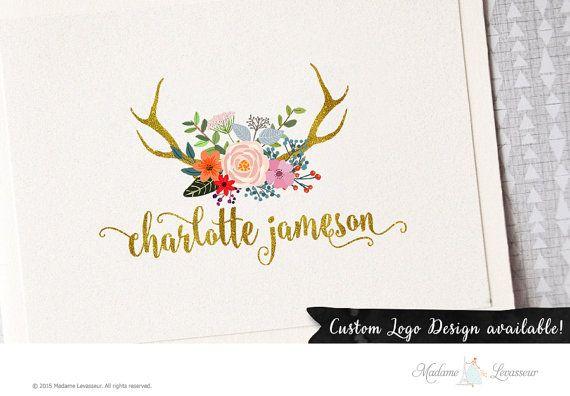 SALE Premade watercolor logo design deer antler logo floral bouquet logo website logo blog