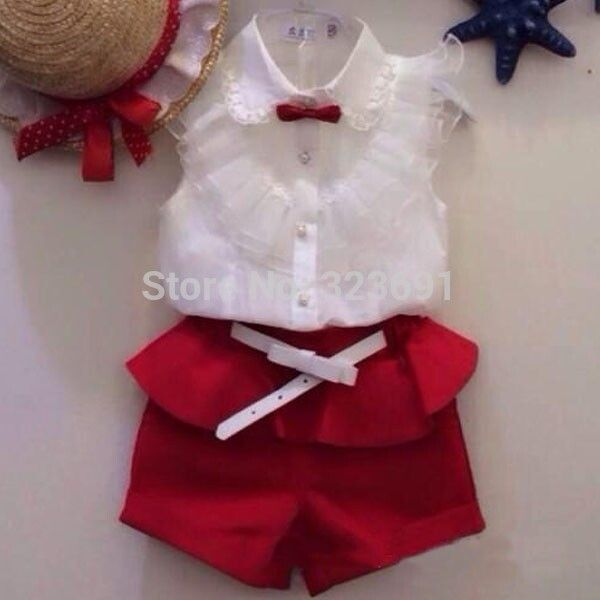 $18.80 (Buy here: http://appdeal.ru/9mh6 ) Girls clothes Summer style fashion new 2016 short sleeves lacy white shirt + shorts set red two-piece suit casual clothes for just $18.80