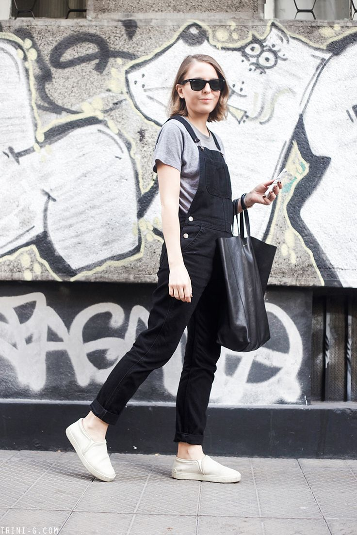 Trini | Topshop dungarees - American Apparel t-shirt - Rag & Bone slip on sneakers - Céline bag