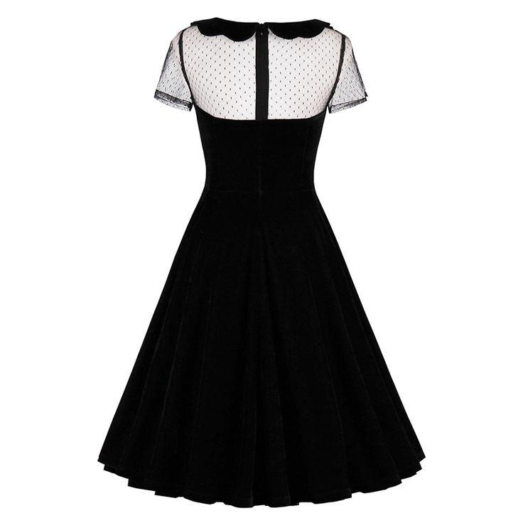 Black Hollow Out Peter Pan Collar Vintage Gothic Dress - FashionandLove.com