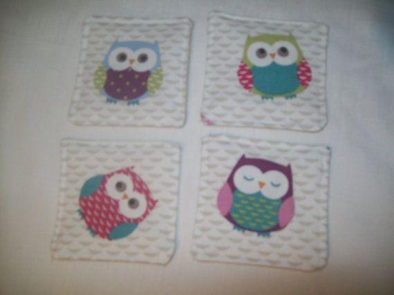 4 x Owl Print Coasters by TyCwtch on Etsy, £5.00