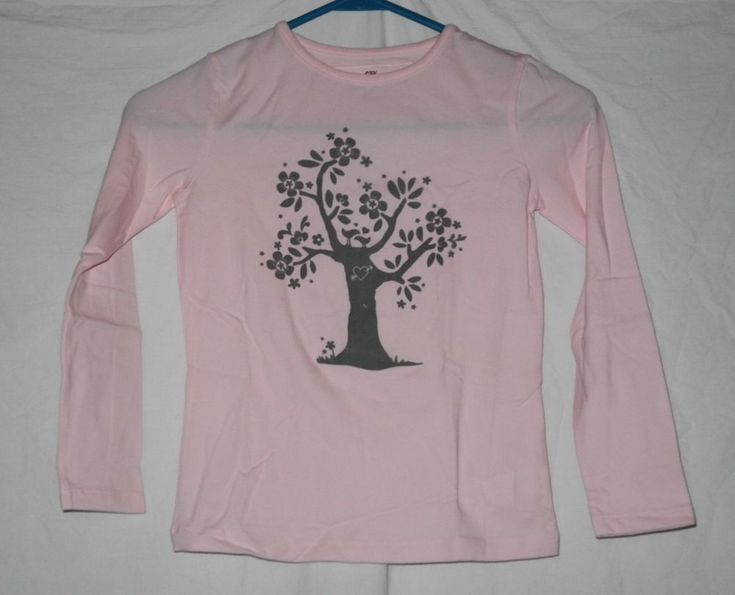 New Girl's Shirt Top Pink Gray Tree Sz 10 Heart Birds CFK Sport Vintage Free Shi #CFK