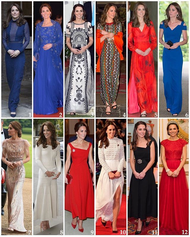 A look back at the Duchess's more formal outfits from this year 🍸 1: April: Kate wore a dress by Indian designer Saloni to a palace reception hosting people from Indian and Bhutanese communities ahead of their India & Bhutan tour. 2: April: William & Kate attended a charity gala in Mumbai along with Bollywood stars. Kate wore a bespoke cobalt blue Jenny Packham gown and shawl that had been hand-embroiled in India. 3: April: To a garden party in New Delhi, honouring the Queen's 90th…