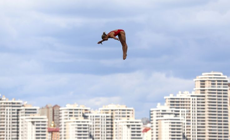 Lysanne Richard of Canada dives during the women's 20-meter high dive event at the Aquatics World Championships in Kazan, Russia, on August 4, 2015.