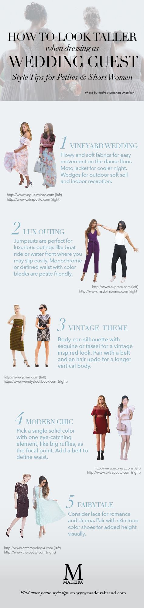 Fall is high season for wedding. If you are going to one or more weddings, you do NOT want to miss these tips and inspirations from our favorite petite fashion bloggers (J Petite, Extrapetite, Wendy's Lookbook and Vogue In Vines) who have mastered the art of dressing as wedding guests to popular theme/venue like vineyard, waterfront/boat ride, chic and modern locations (e.g. hotels, museums, etc.) and even a vintage style ambience.