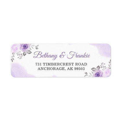 Watercolor Pastel Purple Floral Wedding Address Label - return address labels label diy personalize cyo unique design custom