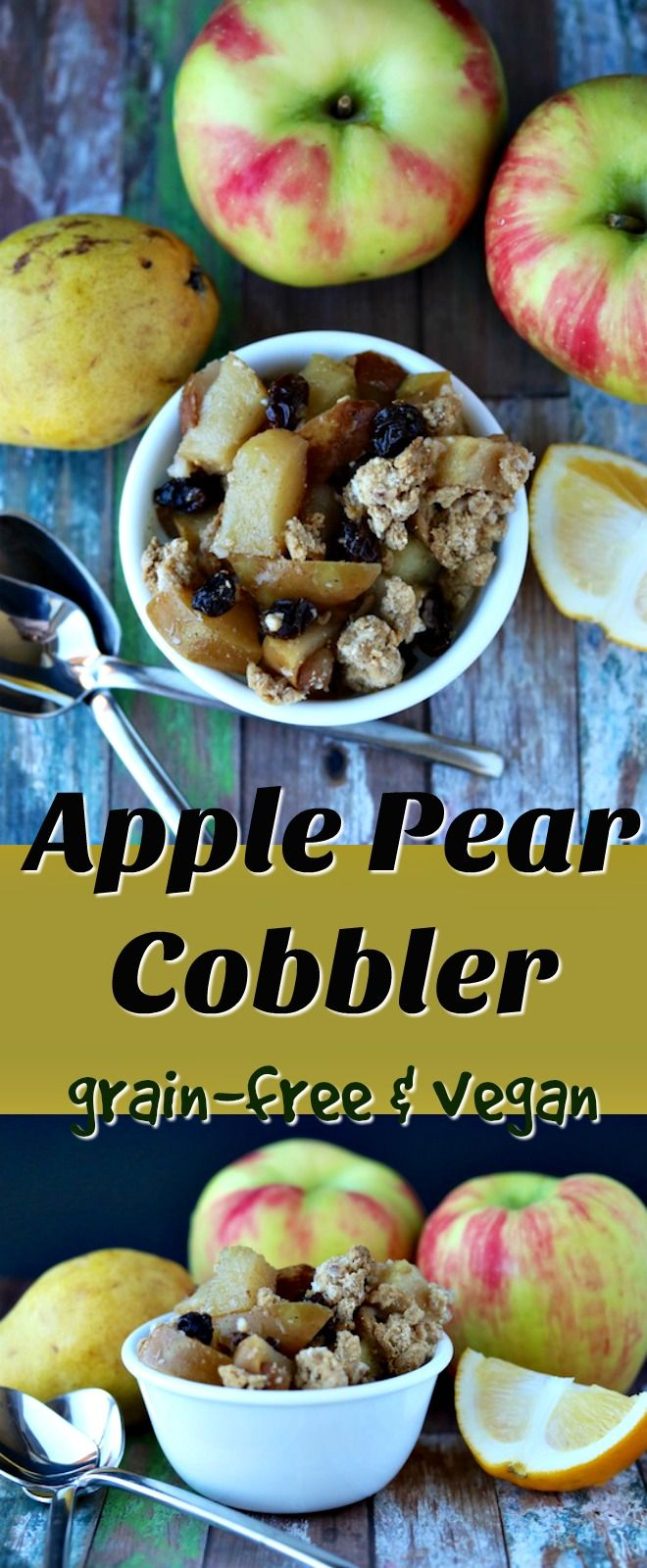 This Apple Pear Cobbler is grain-free and vegan. It's a paleo healthy dessert with a delicious maple cobbler made using cassava flour.