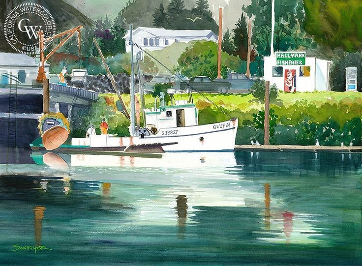17 best images about artwork boats in watercolour for Fishing brookings oregon