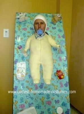 The Homemade Baby Costume started out as a big box for you. I cut it for my head. We put on the box, nice color, toys for the baby (bears). We also took a pajama and I cut a place for my head which I shaved very well and put something on my head.    This costume got a lot of attention. People smiled for baby, and I had a lot if fun.    Enjoy and have some fun!