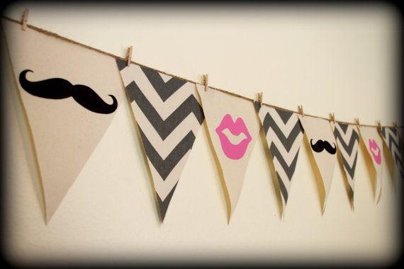 Gray Chevron print Gender Reveal Lips and Mustache Banner - Party Banner - Gray Chevron