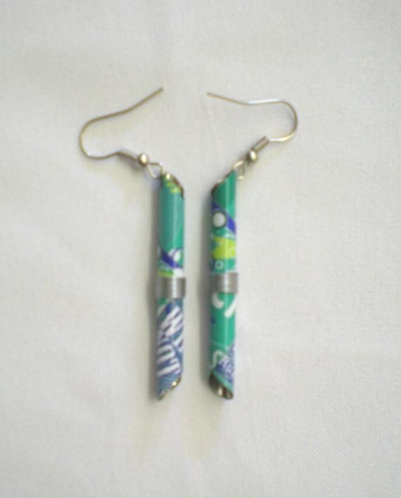 Recycled tin can end earrings
