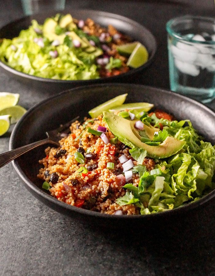 These Instant Pot Vegan Quinoa Burrito Bowls are an easy and healthy make-ahead meal loaded with fiber and protein. They take only 20 minutes to prepare!