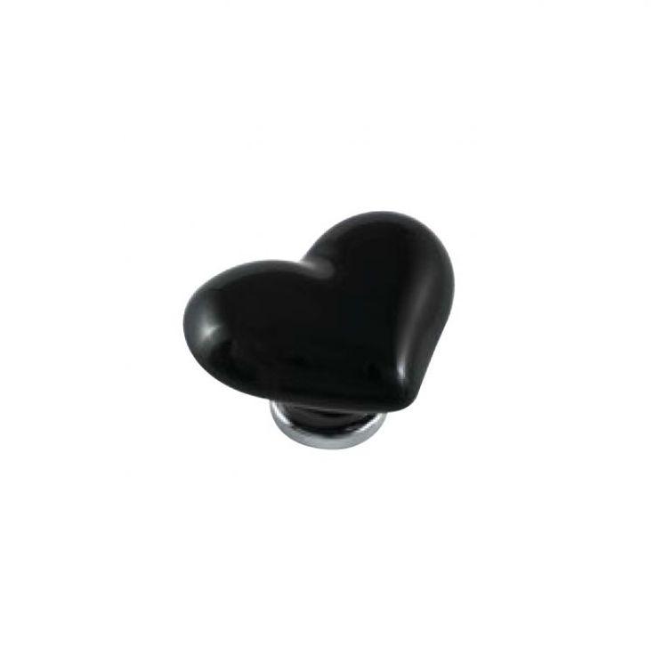 Pomolo per mobile a cuore - Ceramica Nero 39 x 49x H 30 mm - Porcellana #tuttoferramenta #mobili #cuore #nero #minimal #pomellionline