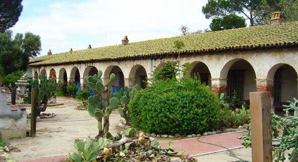 Corridor and patio. San Miguel Arcangel Mission. California. USA