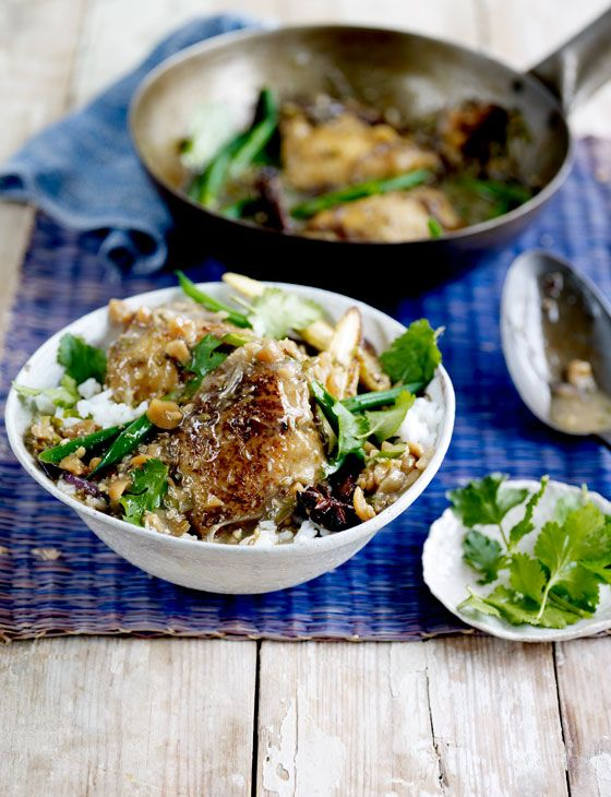 Peter Gordon's Chicken and peanut coconut curry recipe. This is also delicious made with all vegetables, or fish and vegetables.