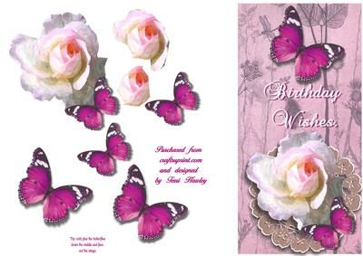 Butterflies and roses are bound to please any lady for her birthday.  Fits a DL envelope when finished, in an easy step by step design.