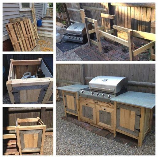 Grill Station Design-Ideen für Ihren Garten. #grilldesign #grillstations – Outdoor-Küche aus Paletten und Upcycled Blaustein. Gesamtkosten: $ 15