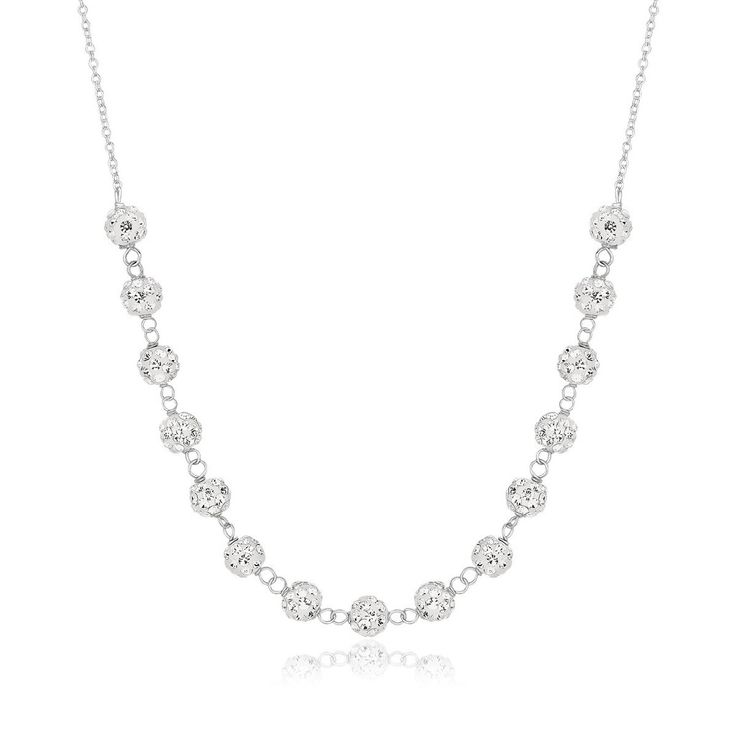 Crystal Accent Ball Chain Necklace 14k White Gold
