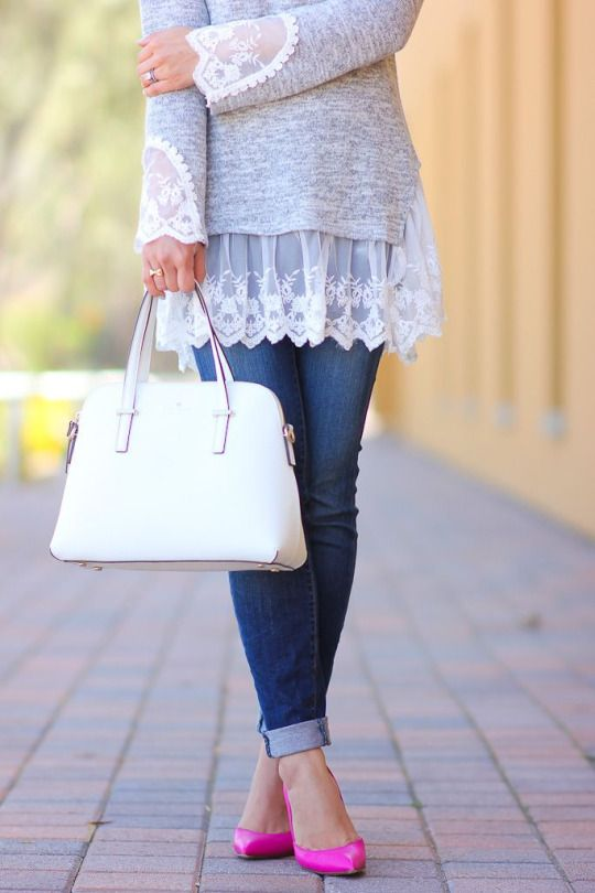 cute way to update and lengthen a long sleeve t-shirt.
