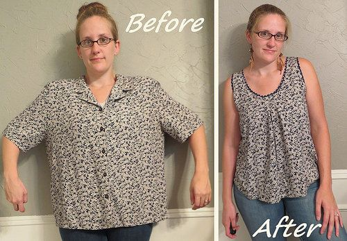 Blouse Refashion by CarissaKnits. The new front has some pleats that are sewn down for the first few inches.  Nice effect.