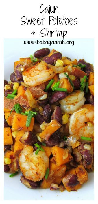 Cajun Sweet Potatoes & Shrimp (with beans and corn) - delicious, flavorful, healthy, easy to make!