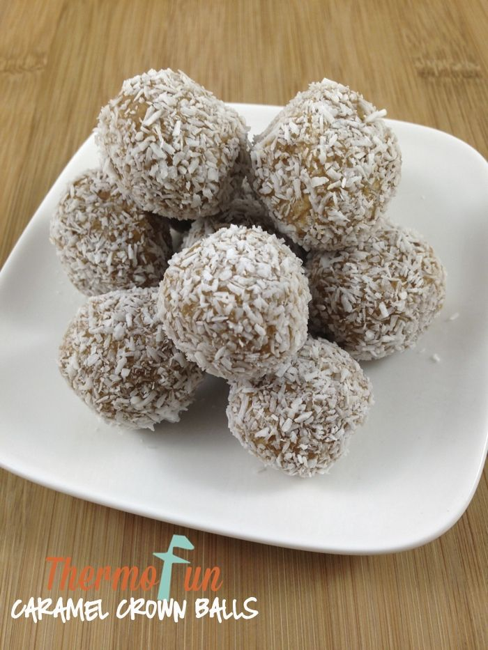 ThermoFun – Caramel Crown Balls Recipe 1 packet Arnotts Caramel Crown biscuits 130g cream cheese coconut (for rolling)