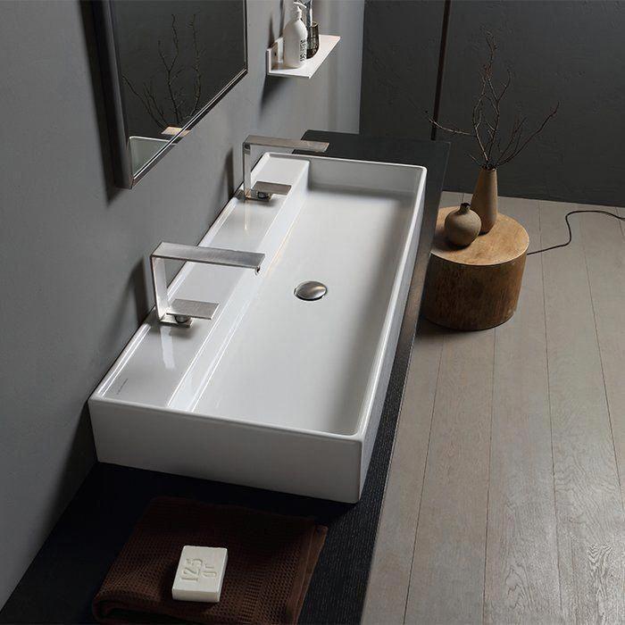 Teorema Ceramic 40 Wall Mount Bathroom Sink With Overflow In 2020 Wall Mounted Bathroom Sinks Bathroom Interior Bathroom Design