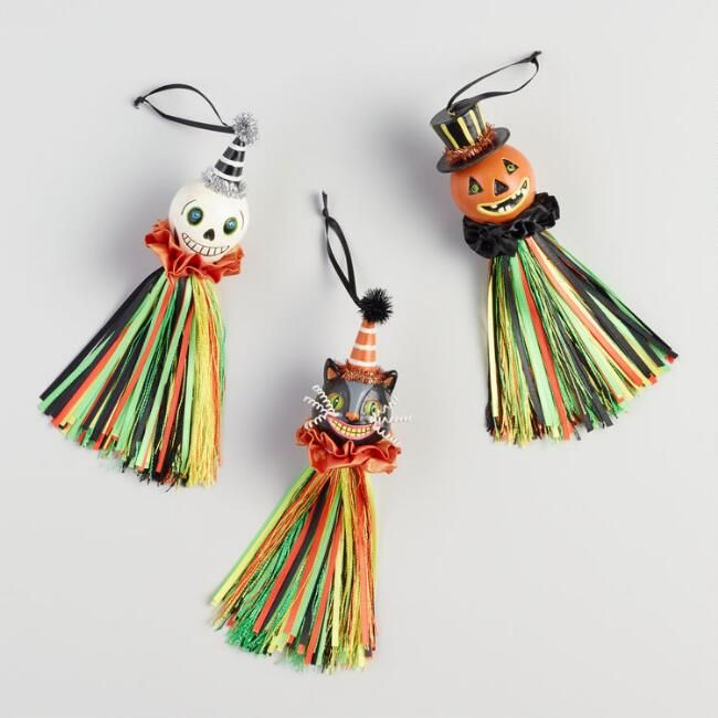 Vintage Halloween Ornaments With Ribbons Set Of 3 Halloween Ornaments Halloween Ribbon Vintage Halloween