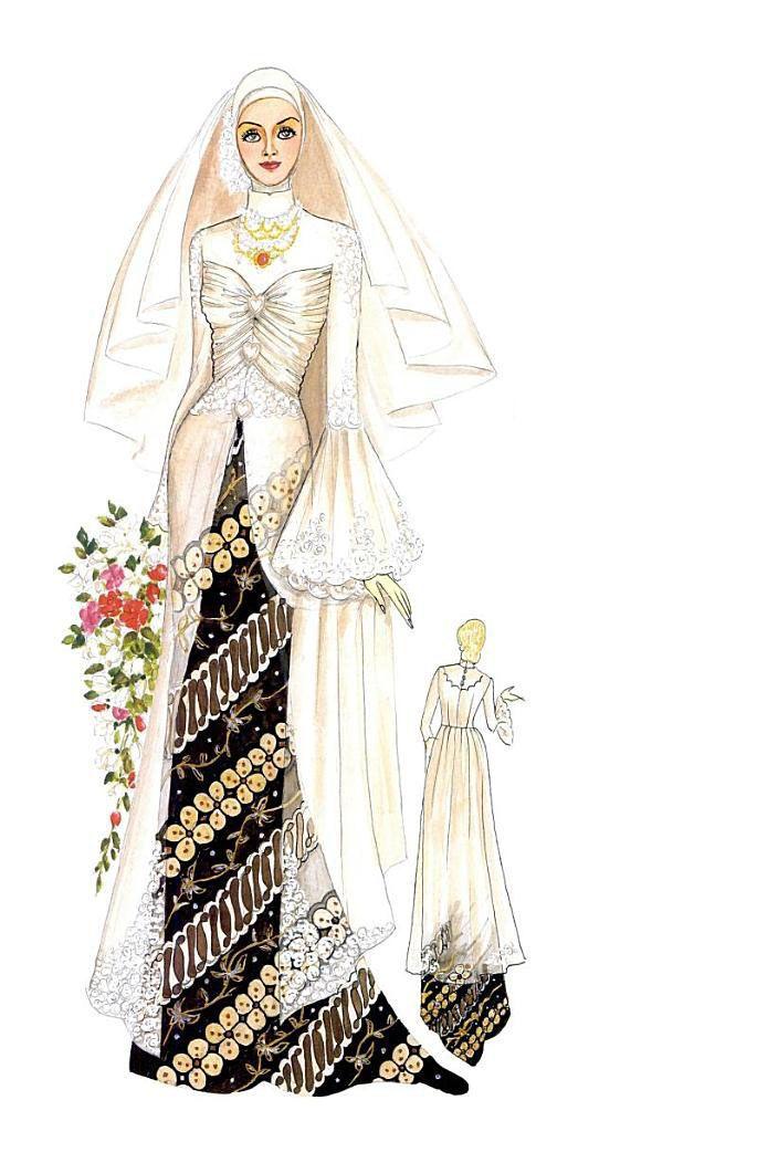 Kreasi kebaya yang panjang mendekati mata kaki. Detail model berupa hiasan drapperies di dada dan dipercantik dengan aplikasi bunga-bunga brokat serta lengan klok. Tampil mewah dan cantik. Bahan ; organdi, lace, atau trulle.