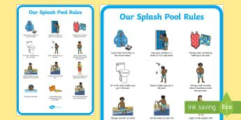 Splash Pool Rules Primary Display Poster - SEN Resources, Special Educational Needs, Splash Pool, Special School, Swimming Pool, Hydrotherapy,