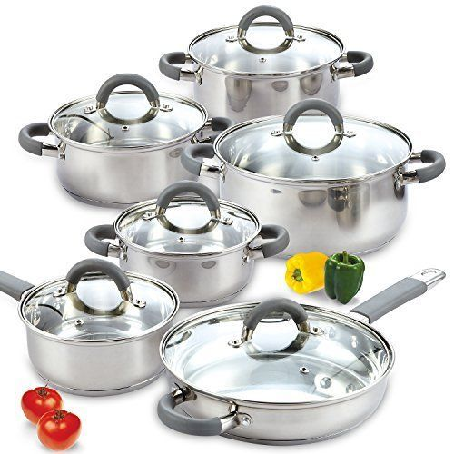 Cookware-Set-Pots-Pans-Non-Stick-Stainless-Steel-12-Piece-Cooking-Kitchen-New