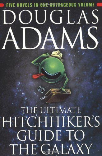Hitchhikers Guide to the Galaxy by Douglas Adams.  One of my favorite series of books - this particular one has all of them bunched together into one!